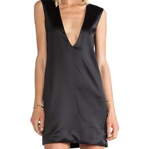 Solace London Black Aurora Deep V Mini Dress 4